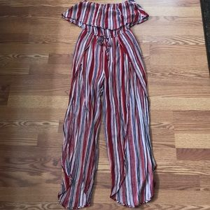 American Threads Striped Open Leg Jumpsuit